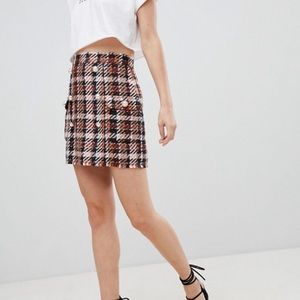 ASOS Skirts - ASOS DESIGN tweed mini skirt with pearl buttons
